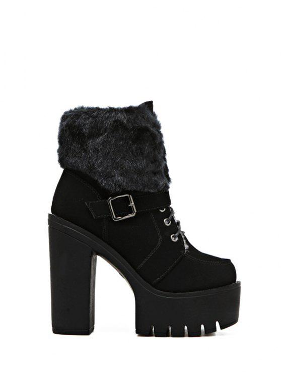 outfit Faux Fur High Heel Short Boots - BLACK 37