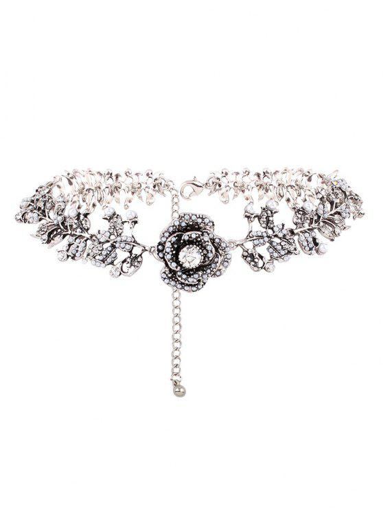 outfits Rhinestone Artificial Pearl Rose Floral Necklace - SILVER