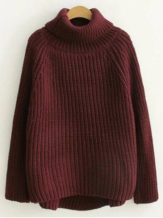 Turtleneck Chunky Pullover Sweater BURGUNDY: Sweaters ONE SIZE | ZAFUL