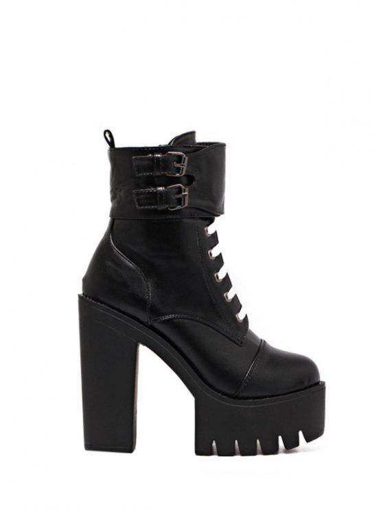 sale Buckle Straps High Heel Boots - BLACK 38