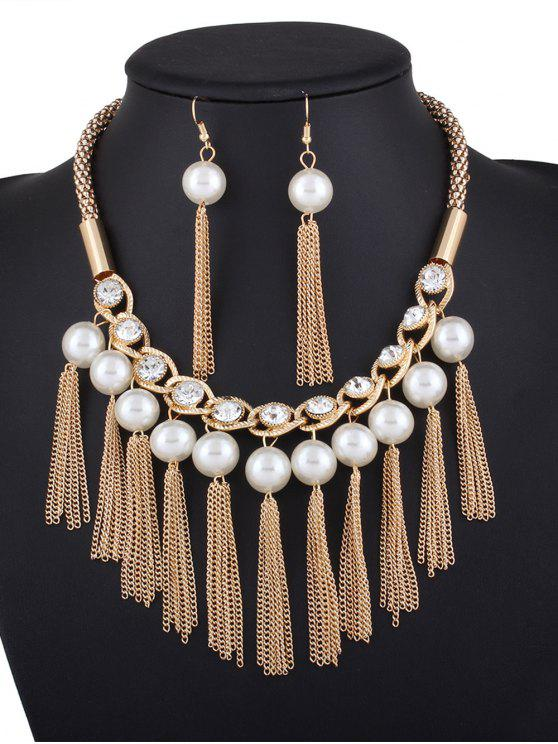 b05cee0d9700 Collar de perlas artificiales diamantes de imitación y los pendientes -  Dorado