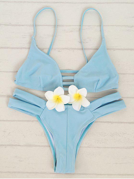 shops Solid Color Cami Bandage Bikini Set - LIGHT BLUE S