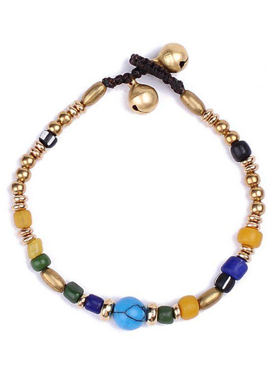 fancy Natural Stone Braid Beads Bracelet - GOLDEN