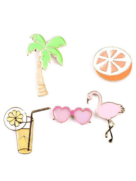 shop Orange Coconut Tree Heart Glasses Brooch Set - COLORMIX