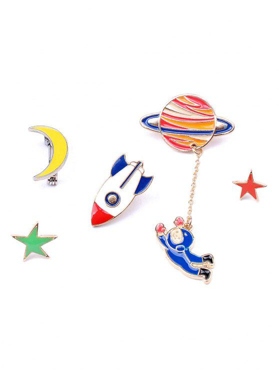 Moon Rocket Spaceman Star Brosche Set - COLORMIX