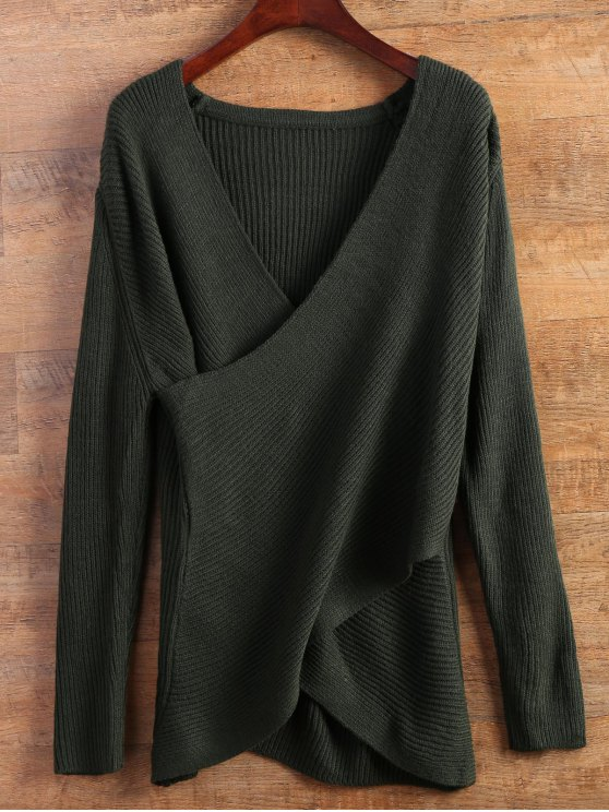 online Wrap Ribbed Sweater - GREEN ONE SIZE