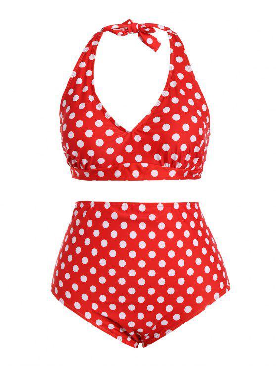 Polka Dot Halter mais tamanho Vintage Bikini - Vermelho 2XL