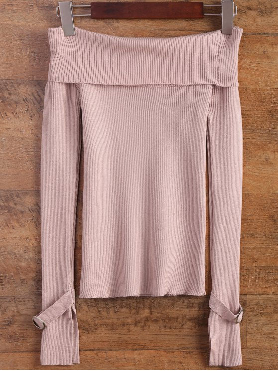 best Split Sleeve Off The Shoulder Sweater - PINK ONE SIZE