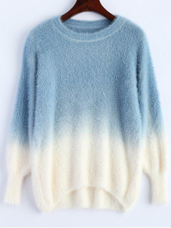 online Ombre High-Low Sweater - BLUE ONE SIZE
