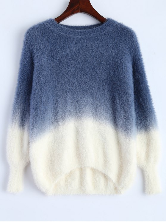 hot Ombre High-Low Sweater - DEEP BLUE ONE SIZE