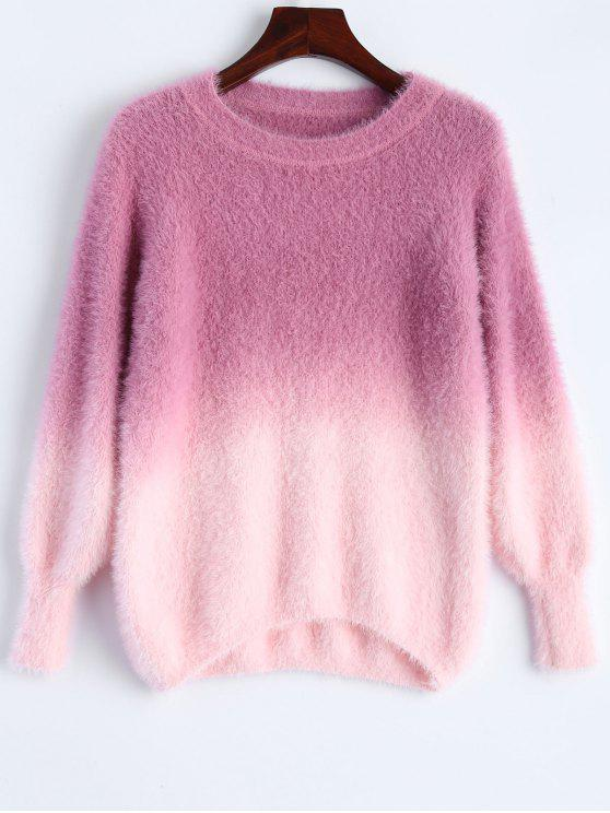 outfit Ombre High-Low Sweater - ROSE RED ONE SIZE