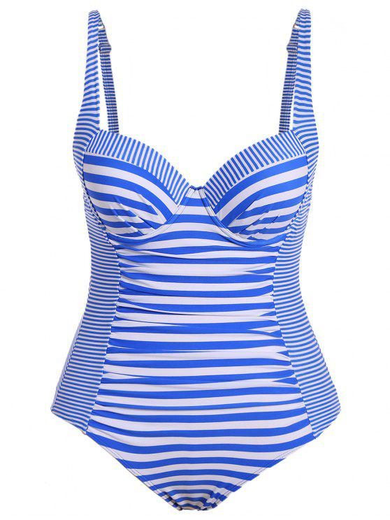 unique Stripes Underwire Plus Size Swimwear One Piece - STRIPE XL
