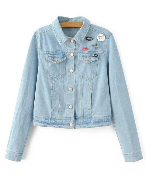 affordable Patch Light Wash Denim Jacket - LIGHT BLUE S