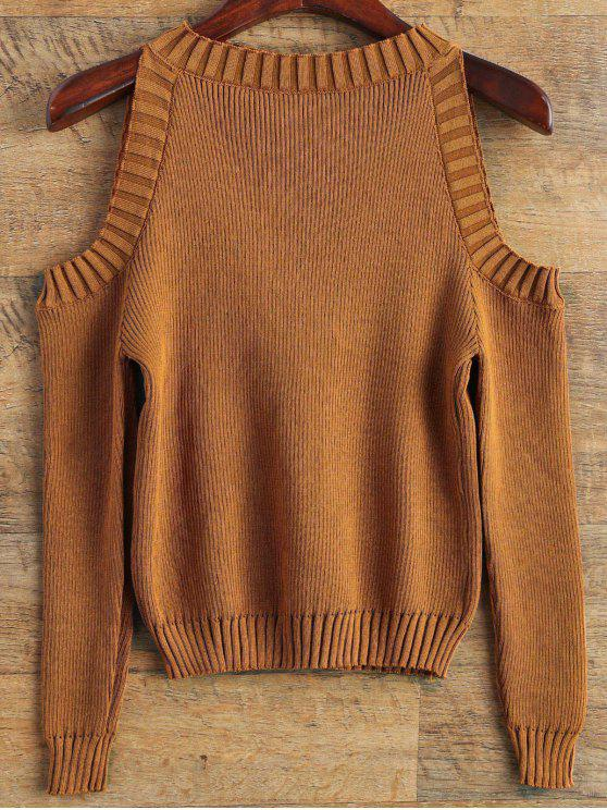 chic Loose-Fitting Cold Shoulder Sweater - COFFEE ONE SIZE