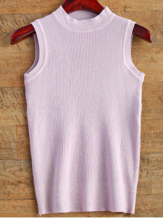 Sin mangas del suéter acanalado - Morado Claro Única Talla