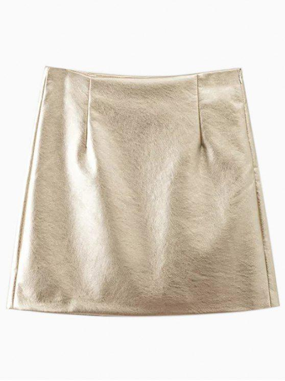 fashion Metal Colour PU Leather Mini Skirt - GOLDEN M