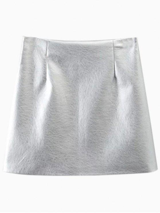 fancy Metal Colour PU Leather Mini Skirt - SILVER L
