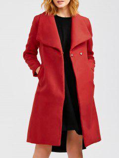 Manteau Long Avec En Laine Avec Ceinture - Rouge L