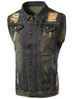 Turn-Down Collar Ripped Design Sleeveless Men's Denim Waistcoat - Blue M