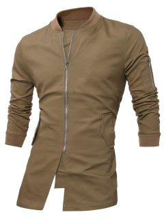 Slim Fit Stand Collar Zip Up Coat - Dark Khaki 3xl