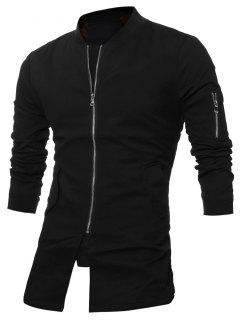 Slim Fit Stand Collar Zip Up Coat - Black 5xl