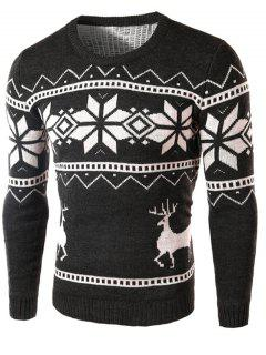Deer And Snowflake Pattern Long Sleeve Sweater - Deep Gray M