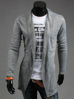Slim Fit Shawl Collar Open Front Cardigan - Light Gray L