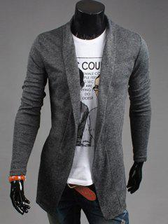 Slim Fit Shawl Collar Open Front Cardigan - Deep Gray M