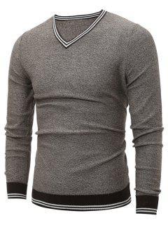 V Neck Striped Pullover Cricket Sweater - Light Gray L