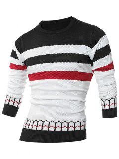 Striped Jacquard Crew Neck Pullover Sweater - Black M