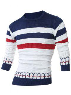 Striped Jacquard Ras Du Cou Pull - Bleu Cadette M