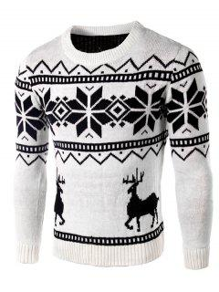 Deer And Snowflake Pattern Christmas Sweater - White 2xl