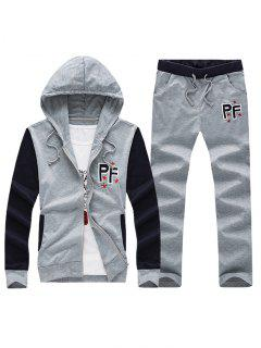 Embroidered Patch Contrast Panel Hoodie And Drawstring Pants Twinset - Light Gray L