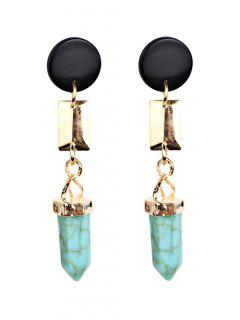 Geometric Artifical Turquoise Dangle Earrings - Light Green