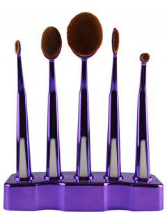 5 Pcs Nylon Oval Toothbrush Makeup Brushes Set With Brush Stand - Purple