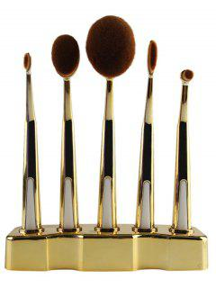 5 Pcs Nylon Oval Toothbrush Makeup Brushes Set With Brush Stand - Golden