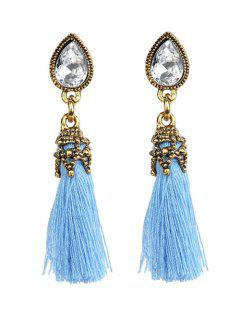 Rhinestone Tassel Water Drop Earrings - Blue