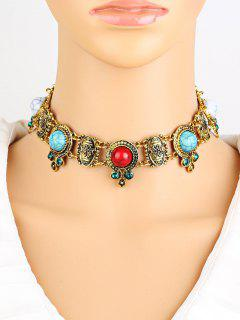 Rhinestone Faux Turquoise Necklace - Golden