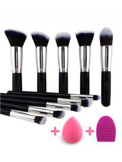 Makeup Brushes Set + Makeup Sponge + Brush Egg - Black