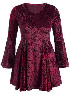 Bell Sleeve V Neck Fit And Flare Velvet Dress - Burgundy 3xl