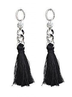 Rhinestone Tassel Dangle Earrings - Black