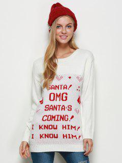 Crew Neck Pullover Christmas Sweater - White M