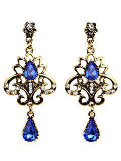Water Drop Fake Gem Openwork Earrings - Blue