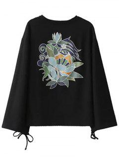 Long Sleeve Oversized Graphic Tee - Black S