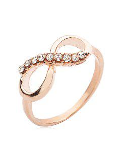 Rhinestone Embellished Infinity Ring - Golden