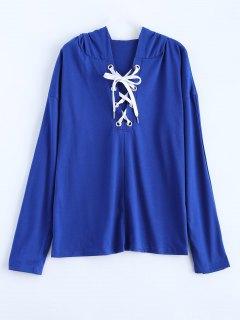 Long Sleeve Lace Up Hooded T Shirt - Blue L