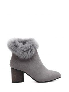 Zip Pointed Toe Faux Fur Ankle Boots - Gray 39
