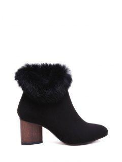 Zip Pointed Toe Faux Fur Ankle Boots - Black 39