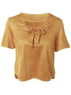 Con Cordones De Gamuza Sintética De La Camiseta - Camello L