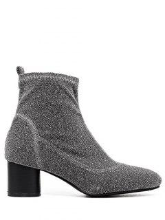 Round Toe Chunky Heel Glitter Ankle Boots - Silver Gray 40